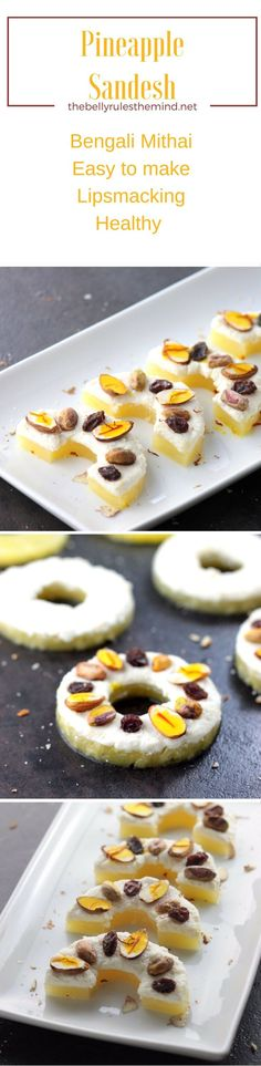 Healthy Pineapple Sandesh Mithai (Dessert) made with literally just 2 ingredients, Pineapple Slices and Chenna. Non greasy and mildly sweet, you are sure to wow you guests at your next celebration |www.thebellyrulesthemind.net