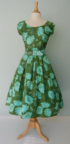 1950s Jerry Gilden Water Color Floral Cotton Summer Dress