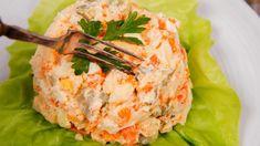 Salata de cruditati cu piept de pui Thing 1, Garam Masala, Salmon Burgers, Potato Salad, Bacon, Potatoes, Yummy Food, Ethnic Recipes, Knits