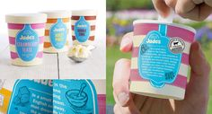 examples of well-designed Ice Cream packaging for your inspiration. Contains many kinds of ice cream packaging examples starts from cup, wrap to pint. Jude's Ice Cream, Packging Design, Ice Cream Packaging, Ice Cream Brands, Get Funky, Jewelry Packaging, Frozen, Strawberry, Mugs