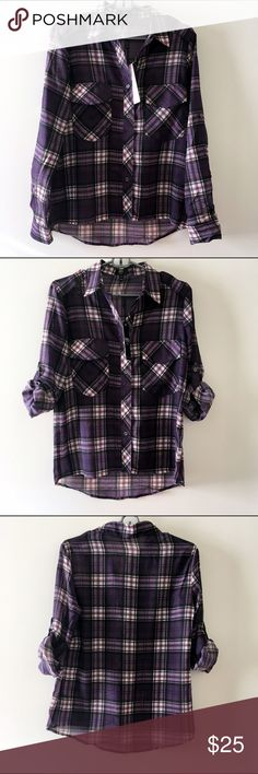 """ABS by Allen Schwartz Pocket Plaid Shirt NWT Beautiful pocket plaid shirt.   Shirt details:  - Spread collar - Long sleeves - Front button closure - 2 side flap pockets - Allover plaid print - Approx. 26"""" length - Made in USA  100% polyester  Fit: this style fits true to size.  Sizing info: Small - Bust: 34"""" - Waist: 24"""" - Hips: 34"""" ABS Allen Schwartz Tops Blouses"""