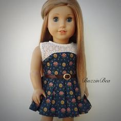 Pretty Navy floral and lace Dress with Belt by BuzzinBea on Etsy. Made with the LJC San Remo Dress pattern, found at http://www.pixiefaire.com/products/san-remo-dress-18-doll-clothes.  #pixiefaire #libertyjane #sanremodress