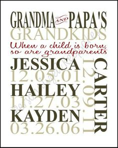 Personalized Grandkid wall decor for GRANDPARENTS Christmas Gift Idea!! on Etsy, $10.00