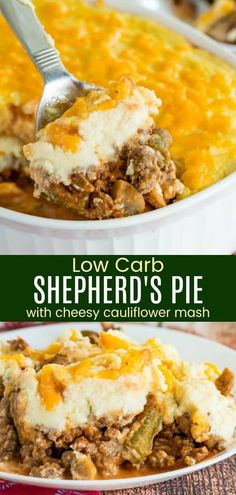 Low Carb Shepherd's Pie with Cauliflower Mash - a hearty ground beef and vegetable mixture is topped with mashed cauliflower and cheddar cheese for a healthier twist on the traditional casserole. The entire family will love this cheesy dinner recipe! Shepherds Pie Rezept, Low Carb Shepherds Pie, Easy Shepherds Pie, Shepherds Pie Recipe Healthy, Healthy Shepards Pie, Cupcakes, Cauliflower Shepherd's Pie, Mashed Cauliflower Recipes, Low Fat Low Carb