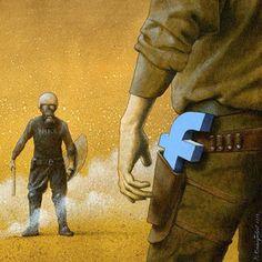 O ilustrador polonês Pawel Kuczynski mostra em suas ilustrações sátiras da sociedade moderna, a maioria, críticas ao sistema e a inversão de valores.