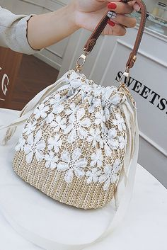 Fashion Lace Straw Bucket Single-Shoulder Hand Bag – Fashionbestway Source by ilikelamps bags and purses Mochila Crochet, Lace Bag, Potli Bags, Diy Bags Purses, Marc Jacobs Handbag, Diy Handbag, Designer Wallets, Vintage Handbags, Fashion Accessories