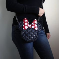 The cutest Minnie Mouse bag you will ever own! Comes with quilted synthetic material with Minnie Mouse-shaped design and studs Zippered closure Interior organizing pockets. Item by Disney x Loungefly. Disney Vacations, Disney Trips, Disney Souvenirs, Disney Style, Disney Love, Disney Disney, Disney Collection, Minnie Mouse, Disney Purse