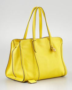 Alexander McQueen New Skull Padlock Zip-Around Tote Bag, Yellow <3 <3