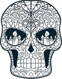 Sugar Skull Advanced Colouring 15 – Coloring pages - Malvorlagen Mandala Skull Coloring Pages, Mandala Coloring, Coloring Book Pages, Coloring Sheets, Adult Coloring, Sugar Skull Design, Sugar Skull Art, Sugar Skulls, Mandala Art
