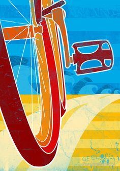 By The Ocean - Geelong Cycling Event Poster by GordonGraphics