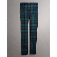 0997cf049aad Pantalon ajusté en laine tartan (Marine) - Homme   Burberry Manteau Veste,  Vêtements
