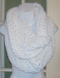 White  infinity cowl scarf neckwarmer other by MatsonDesignStudio, $24.00