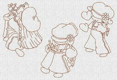 INSTANT DOWNLOAD Sunbonnet Laura Sue Redwork by embroiderygirl