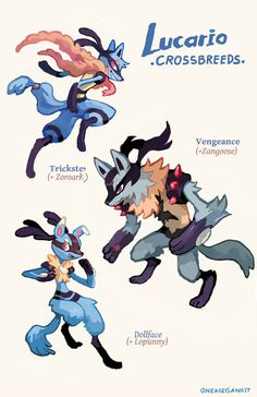 "onemegawatt: ""Remember these Riolu crossbreeds? This is how they look now, feel old yet? 8^) You can find more crossbreeds in my zines, available in my store right here!..."