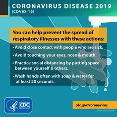 Know how coronavirus spreads and take steps to protect yourself and others. Avoid close contact, clean your hands often, cover coughs and sneezes, stay home if you're sick, and know how to clean and disinfect. Health 2020, Public Health, Virus Symptoms, Stress, Action, Best Memes, Simple Way, How To Stay Healthy, Tricks