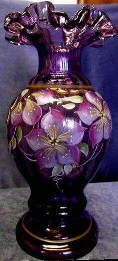 Fenton violet glass vase handpainted 2002 nancy fenton