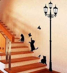 Cheap bird wall sticker, Buy Quality wall sticker directly from China lamp cat Suppliers: Popular Ancient Lamp Cats and Birds Wall Sticker Wall Mural Home Decor Room Kids Decals Wallpaper Wall Stickers Cats, Stair Stickers, Removable Wall Stickers, Cat Decals, Nursery Stickers, Art Mural, Wall Murals, Wall Art, Mur Diy
