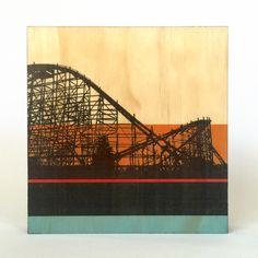Cyclone Roller Coaster - Lakeside Amusement Park Art Gel Transfer Print on Pine Wood Block