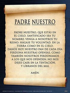 Spanish The Lord's Prayer Poster - Catholic to the Max - Online Catholic Store Prayer Verses, Faith Prayer, God Prayer, Prayer Quotes, Catholic Prayers In Spanish, Love My Kids Quotes, Prayer Tattoo, Hail Holy Queen, Hail Mary