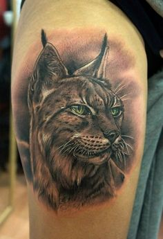 Beautiful detailed realistic portrait of lynx tattoo