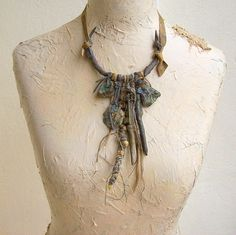 FREE EARRINGS Artistic Necklace Leather Amulet Talisman Tribal  Necklace with Handmade PendantsTalisman Necklace Wearable Art, OOAK