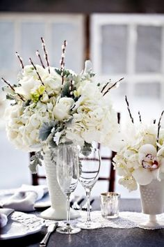GREAT IDEA!!  The bridesmaids bouquets will be dropped into vases and used in the as part of the clustered centerpiece.