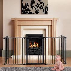 charaHOME 121 Inch Baby Gate Fireplace Fence Baby Safety Gate Adjustable Folding Metal Play Yard for Baby/Pet/Dog Christmas Tree Fence Pet Gates for doorways with Walk Through Door Christmas Tree Fence, Christmas Dog, Fireplace Gate, Child Fence, Door Alternatives, Baby Play Yard, Magnetic Screen Door, Wood Dog, Pet Gate