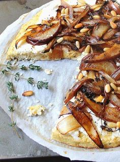 Roasted Pear and Caramelized Onion Pizza with a Cauliflower Crust (Gluten Free, Grain Free)