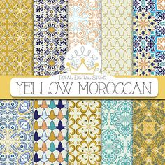 """Moroccan digital paper: """" YELLOW MOROCCAN"""" with yellow moroccan pattern, yellow damask, yellow mosaic for scrapbooking, cards, invitations #moroccan #yellow #blue #digitalpaper #scrapbookpaper #planner #damask #mint #baby #summerdigitalkit #partysupplies"""