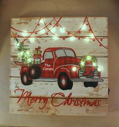 LiT Christmas Sign Rustic Vintage RED TRUCK by OurSweetHomeAlabama