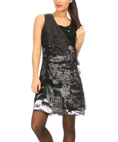Another great find on #zulily! Black & White Layered Sleeveless Dress #zulilyfinds
