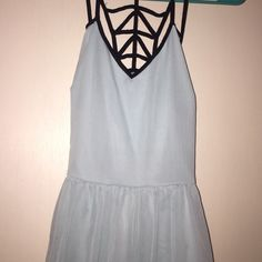 Charlotte Russe dress Very adorable light blue Charlotte Russe dress! It has a little high low effect. It's a size small and it has a cute open hole back to it. I love the black color with the blue. They go really well with each. I have only worn this dress once! Make an offer! :) Charlotte Russe Dresses High Low