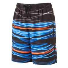 SONOMA life + style Solar Flare Striped Microfiber Swim Trunks - Men