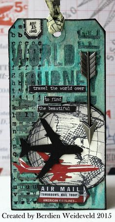 Scrap from Bemmel: Tim Holtz tag augustus 2015 - I need the Adventure die set Atc Cards, Card Tags, Gift Tags, Tim Holtz Stamps, Handmade Tags, Tag Design, Paper Tags, Vintage Tags, Artist Trading Cards