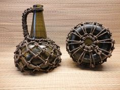 How bottles and fishing floats were repurposed into jugs with a handle. Instructions on another page at this site.