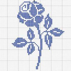 Rose filet crochet y Cross Stitch Fruit, Cross Stitch Rose, Cross Stitch Flowers, Counted Cross Stitch Patterns, Cross Stitch Designs, Cross Stitch Embroidery, Crochet Chart, Filet Crochet, Broderie Bargello
