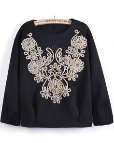 Black Long Sleeve Bead Metallic Yoke Sweatshirt - Sheinside.com