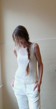 White vest /  cotton mix summer tank / vest by ileaiye on Etsy,