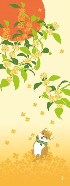 Japanese Tenugui Towel Cotton Fabric, Hand Dyed Fabric, Autumn Fabric, Kawaii Dog, Osmanthus, Sun, Wall Art Hanging, Gift Wrapping, JapanLovelyCrafts