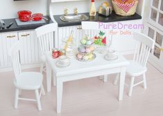 1/12 Dollhouse Dining Room Furniture Set 5pcs Dining Table and 4 Chairs WD016B #Iland