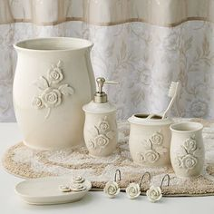 Croft and Barrow Belle bath accessories: love the ceramic parts of this set, less so the fabric.