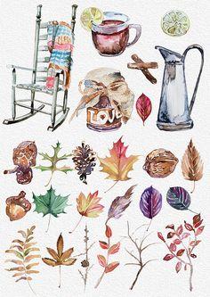 Aquarell Herbst Stimmung Clipart handgemalte von ArtCreationsDesign
