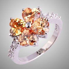 Heart Cut Morganite & White Topaz Gemstone Lovers Ring Size 7.5