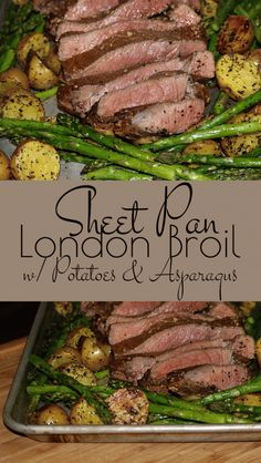 Sheet Pan London Broil with Potatoes and Asparagus – a wonderfully easy and delicious family pleasing sheet pan dinner that bakes in one dish making it an ideal weeknight meal.
