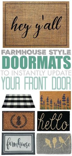 A fun farmhouse style doormat is a great way to upgrade your entryway and a nice. A fun farmhouse style doormat is a great way to upgrade your entryway and a nice way to decorate fo Farmhouse Front, Country Farmhouse Decor, Rustic Decor, Farmhouse Style, Southern Farmhouse, Farmhouse Plans, Modern Decor, Modern Farmhouse, Home Decor Styles