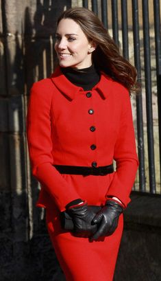 leather fasyen: Kate Middleton in Leather Gloves