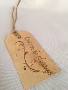 Hand Stamped  Wedding Favor Tags- Set of 10 Aged Tags on Etsy, $8.50