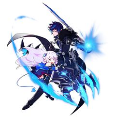View an image titled 'Lu & Ciel Cut-in Art' in our Elsword art gallery featuring official character designs, concept art, and promo pictures. Game Character Design, Character Concept, Character Art, Concept Art, Moe Anime, Anime Art, Manga Anime, Elsword Game, Lu Elsword