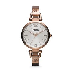 Fossil Georgia Three Hand Stainless Steel Watch - Rose ES3110 | FOSSIL®