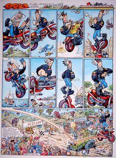 MALCOM FROM OGRI COMIC STRIP MOTORCYCLE BIKE BIKER COOL large BADGE